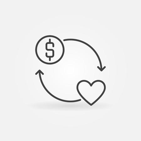 Donate money vector round concept outline icon Illustration