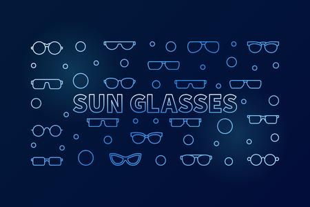 Sun glasses blue vector outline illustration or banner