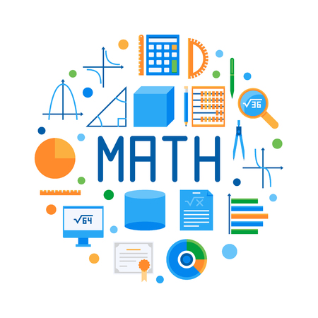 Math round flat vector modern illustration. Colorful mathematics symbol on white background Archivio Fotografico - 95995494