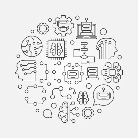 A Machine learning circular vector technology illustration