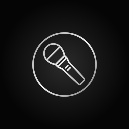 Microphone in circle vector silver line icon or design element