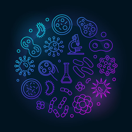 Colorful viruses vector round concept illustration made with virus and bacteria outline icons on dark background Illustration