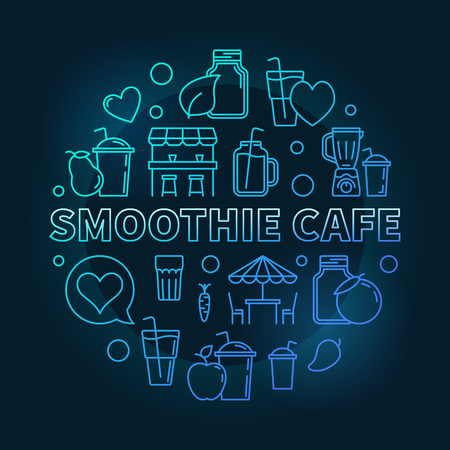 Smoothie Cafe blue round concept symbol or illustration in thin line style on dark background Illustration