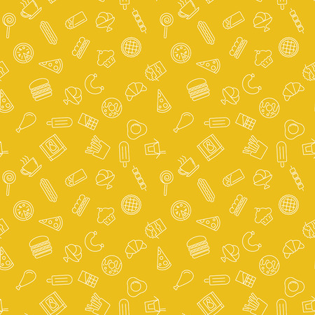 Fast food yellow pattern - vector seamless texture or background