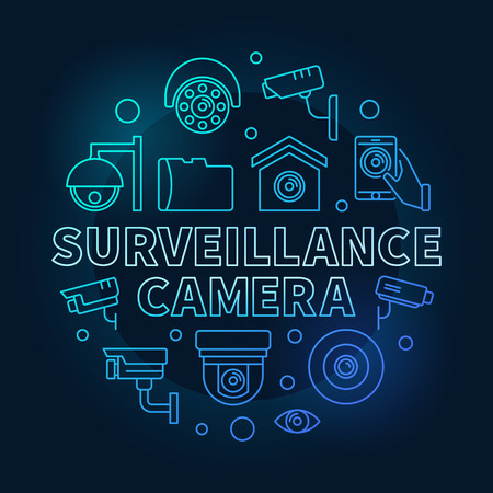 Surveillance camera blue circular illustration - vector CCTV security round outline symbol on dark background
