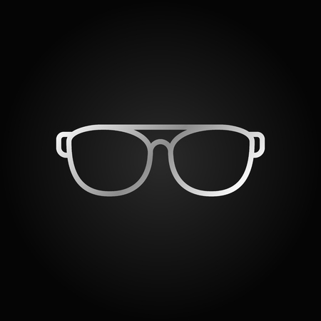 Sunglasses or glasses vector silver icon or symbol in thin line style on dark background Illustration