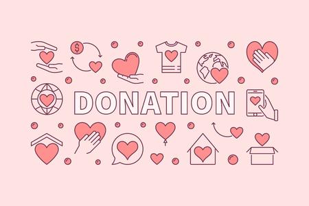 Donation pink horizontal illustration. Donating money vector creative banner Vektorové ilustrace