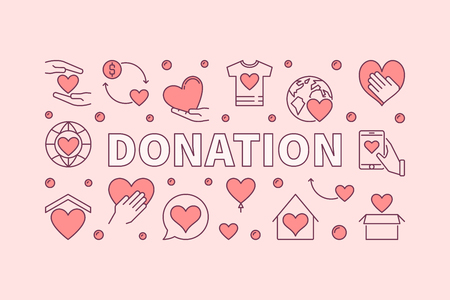 Donation pink horizontal illustration. Donating money vector creative banner