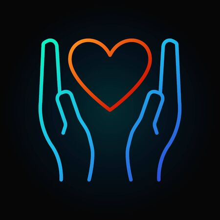Heart in hands colored linear icon - vector donation and charity outline concept sign on dark background
