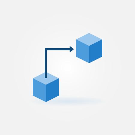 Blockchain technology concept flat blue icon Illustration
