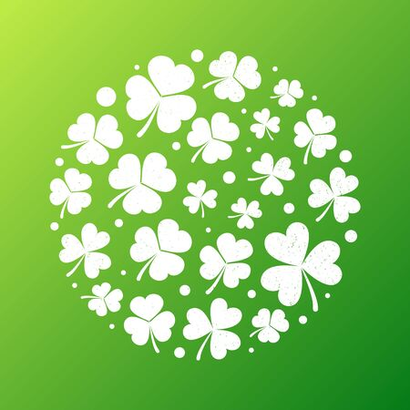 Distressed shamrock round shape. Vector illustration Illustration
