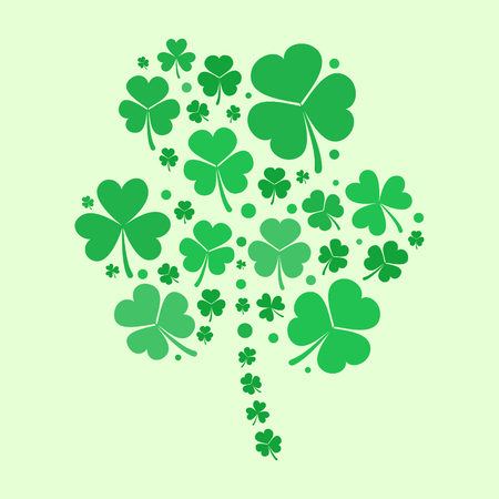 Shamrock vector shape made with green flat shamrocks Stock Illustratie