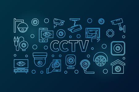 CCTV blue horizontal illustration. Vector line banner Stock Vector - 96382658