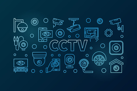 CCTV blue horizontal illustration. Vector line banner