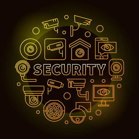 Yellow security vector round illustration or symbol