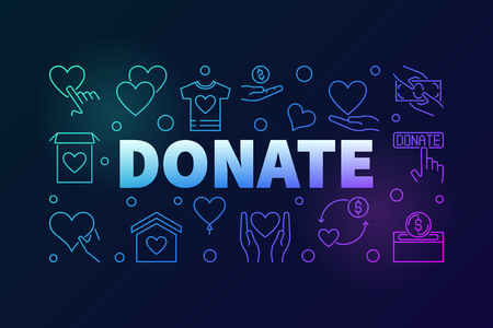 Donate vector colored horizontal outline banner illustration.