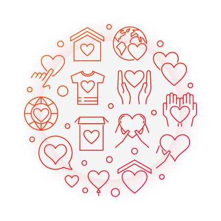 Philanthropy red vector round line illustration Illustration