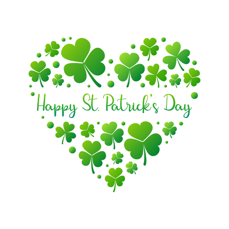 Happy St. Patricks Day vector heart on white background