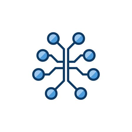Circuit brain colored icon. Vector digital brain sign