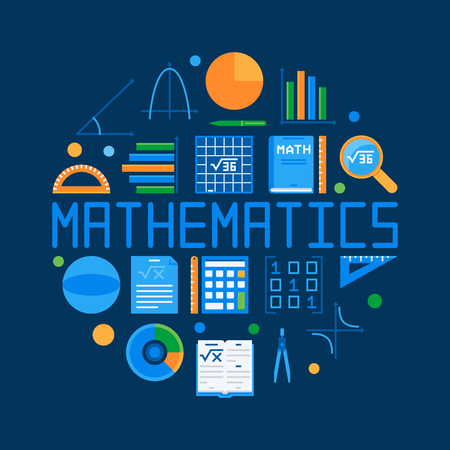 Mathematics circular flat illustration with math symbol.