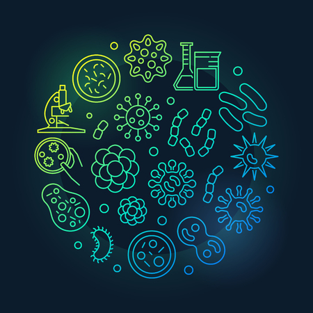 Virus and bacteria round green symbol made with microbes and viruses icons in thin line style. Vector illustration on dark background Illustration