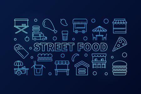 Street food blue horizontal banner. Vector concept outline illustration on dark background