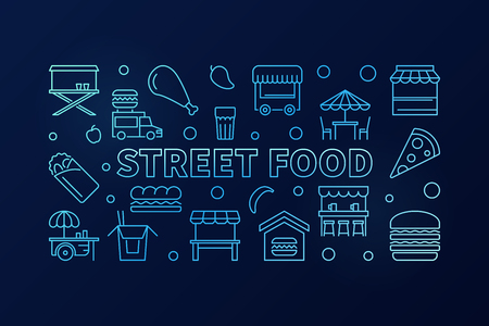 Street food blue horizontal banner. Vector concept outline illustration on dark background