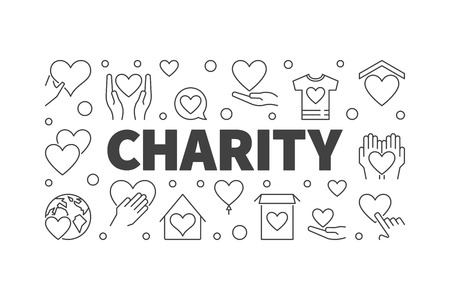 Vector charity and donation minimal horizontal banner or illustration in thin line style