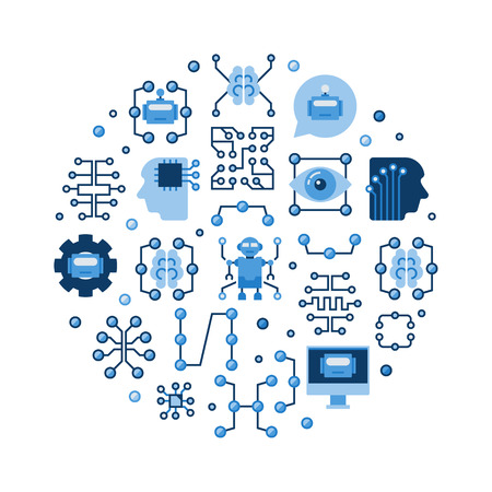 Machine learning and AI vector colorful flat illustration