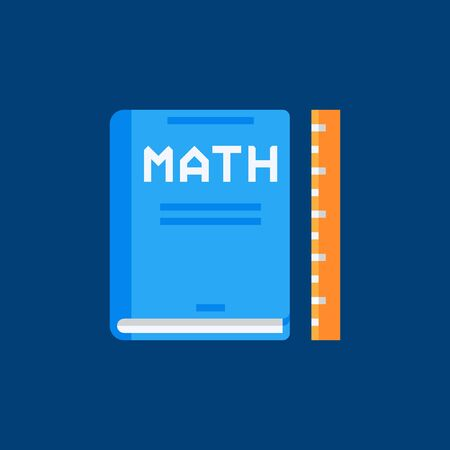 Mathematics book flat icon. Vector math book sign Illustration
