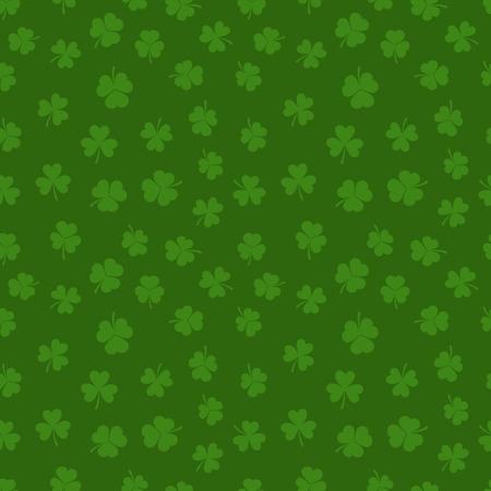 Green clover seamless pattern. Vector shamrock background.
