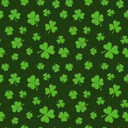 St. Patricks day vector seamless pattern or background made with green shamrocks