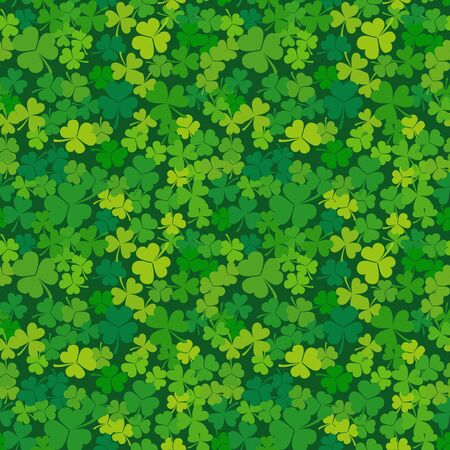 St. Patricks day seamless background. Vector clover or shamrock pattern