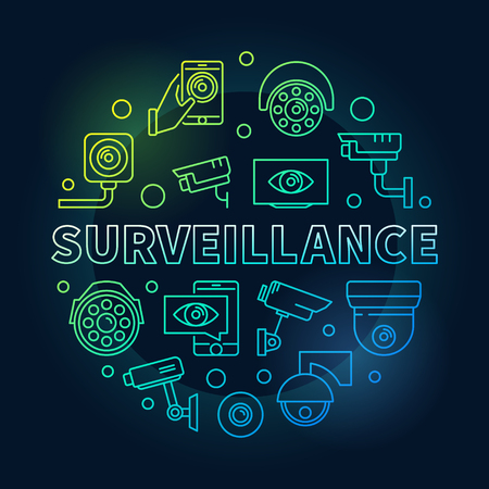 Surveillance vector round colored illustration. Video security concept sign in linear style on dark background Illustration