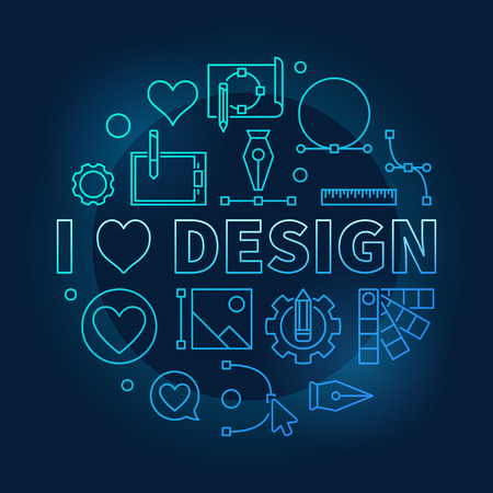 I love design blue vector concept round line symbol or illustration on dark background