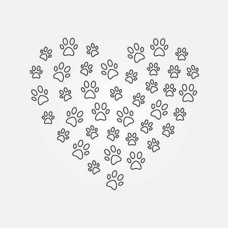 Animals footprints in heart shape vector line illustration.