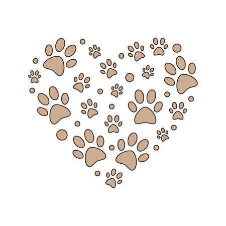 Brown paw prints in heart shape vector illustration.