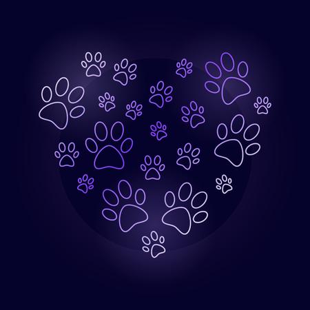 Colorful heart with dog prints outline vector illustration. Illustration