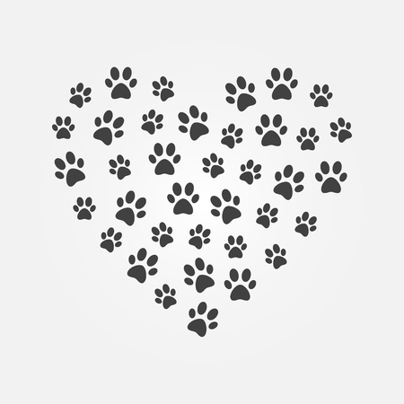 Dark cat footprints in heart shape vector illustration.