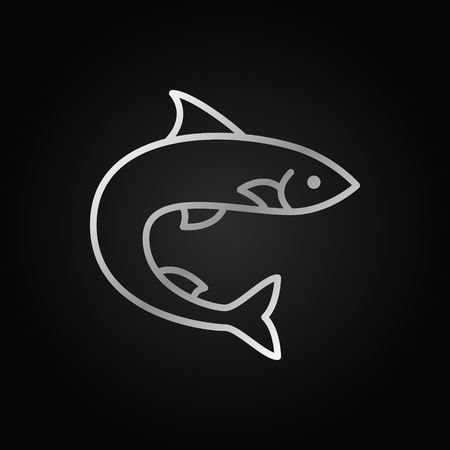 Trout or salmon fish silver vector icon on dark background 向量圖像