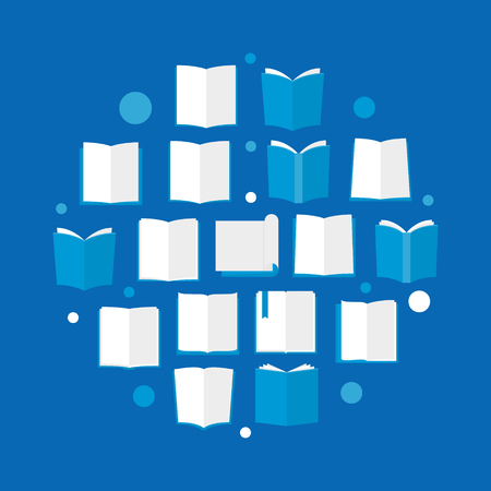 Books blue flat illustration. Vector circular sign made with book flat icons and circles Vettoriali