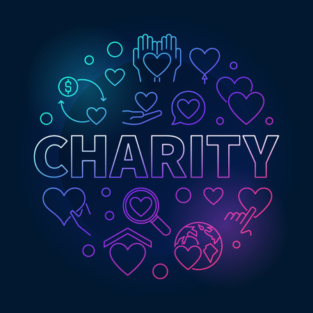 Charity round bright illustration - vector colored symbol