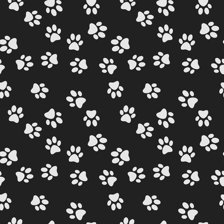 Dog paw print dark vector seamless pattern
