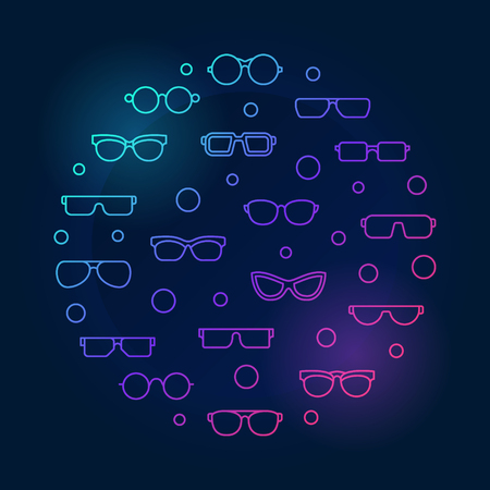 Vector glasses round colored concept illustration or symbol in thin line style on dark background Illustration