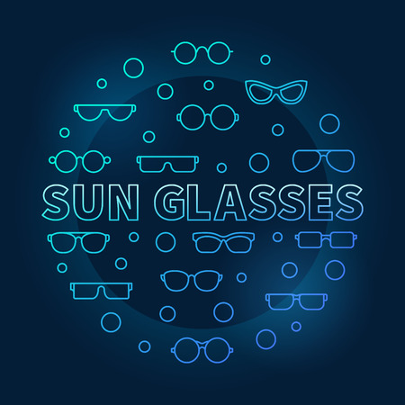 Sun glasses blue vector round illustration made with icons