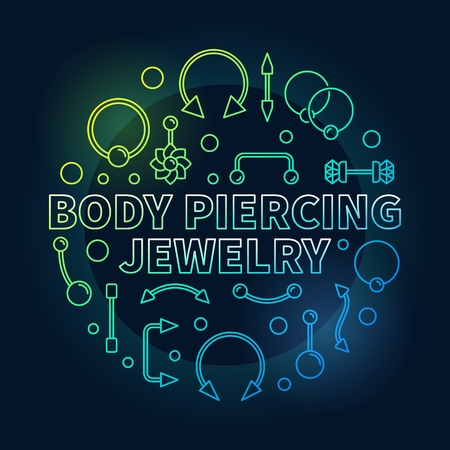 Body piercing colored jewelry vector outline illustration Vettoriali