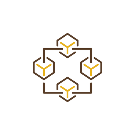 Blockchain creative icon. Block chain technology vector concept sign or logo element on white background