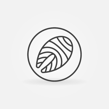 Salmon or trout steak in circle outline icon or logo element