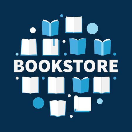 Bookstore round flat illustration. Vector creative circular symbol made of books icons and word BOOKSTORE Çizim