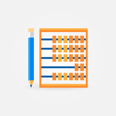 Abacus with pencil flat vector icon or symbol